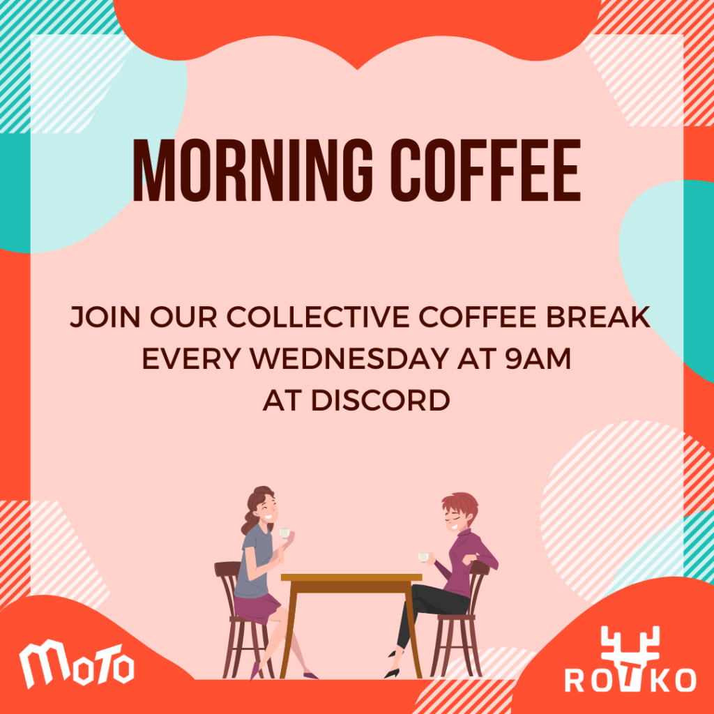 coffee break every wednesday at 9am at discord.