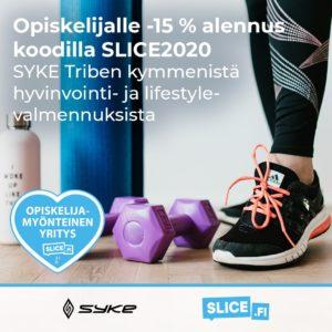 Opiskelijalle -15 % alennus koodilla SLICE2020 SYKE Triben kymmenistä hyvinvointi- ja lifestylevalmennuksista.