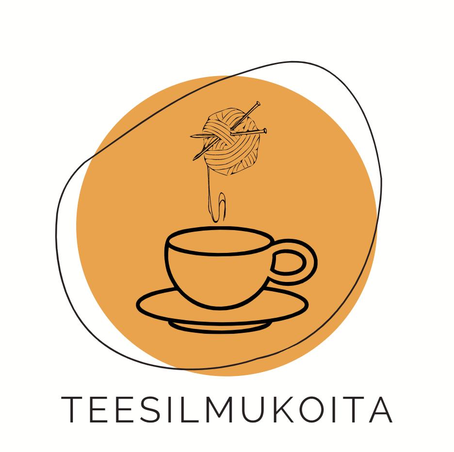 Teesilmukoita-kerhon logo, valkoisella pohjalla oranssi vektoripallo. Sen päällä vektorikuva teekupista sekä lankarullasta.